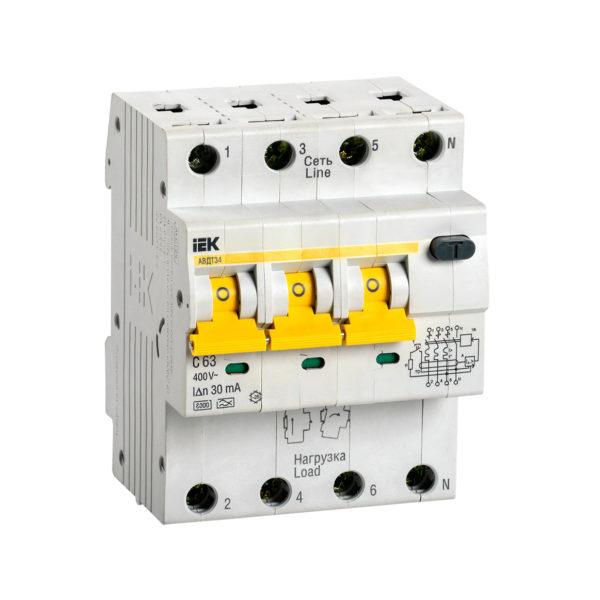 Автоматический выключатель дифференциального тока АВДТ34 C63 30мА IEK