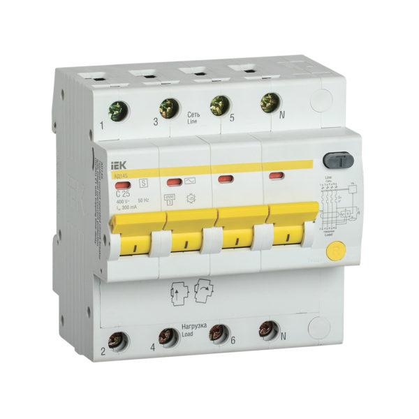 Дифференциальный автоматический выключатель АД14S 4Р 25А 300мА IEK
