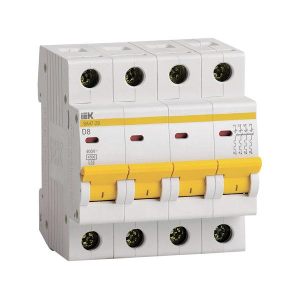 Выключатель автоматический ВА47-29 4Р 8А 4,5кА D IEK