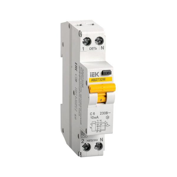 Автоматический выключатель дифференциального тока АВДТ32М С6 10мА IEK