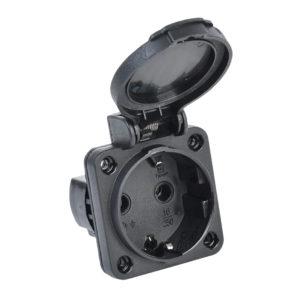 MAGNUM Розетка панельная SCHUKO РП14-3 IP54 черный IEK