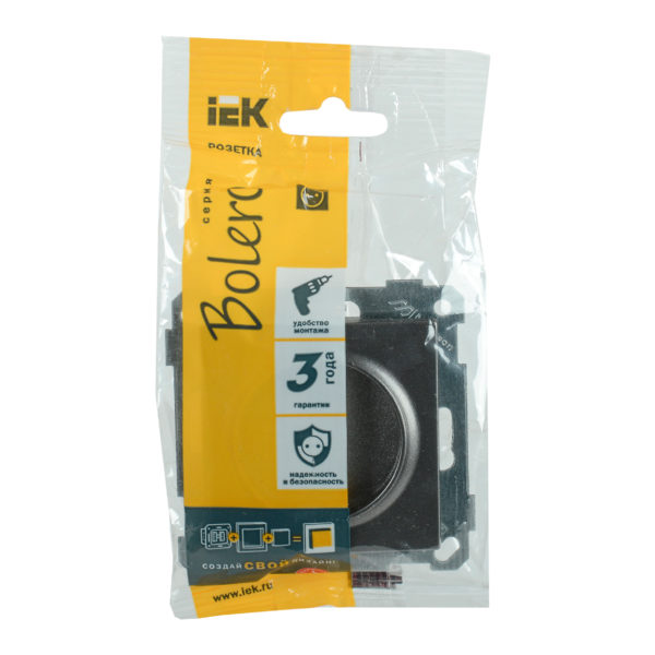 Розетка РС14-1-0-Б с заземляющим контактом с защитной шторкой 16А BOLERO антрацит IEK