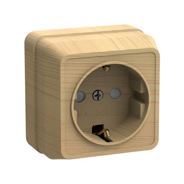 Розетка 1-местная для открытой установки РСш20-3-ОС с заземляющим контактом с защитной шторкой 16А ОКТАВА сосна IEK