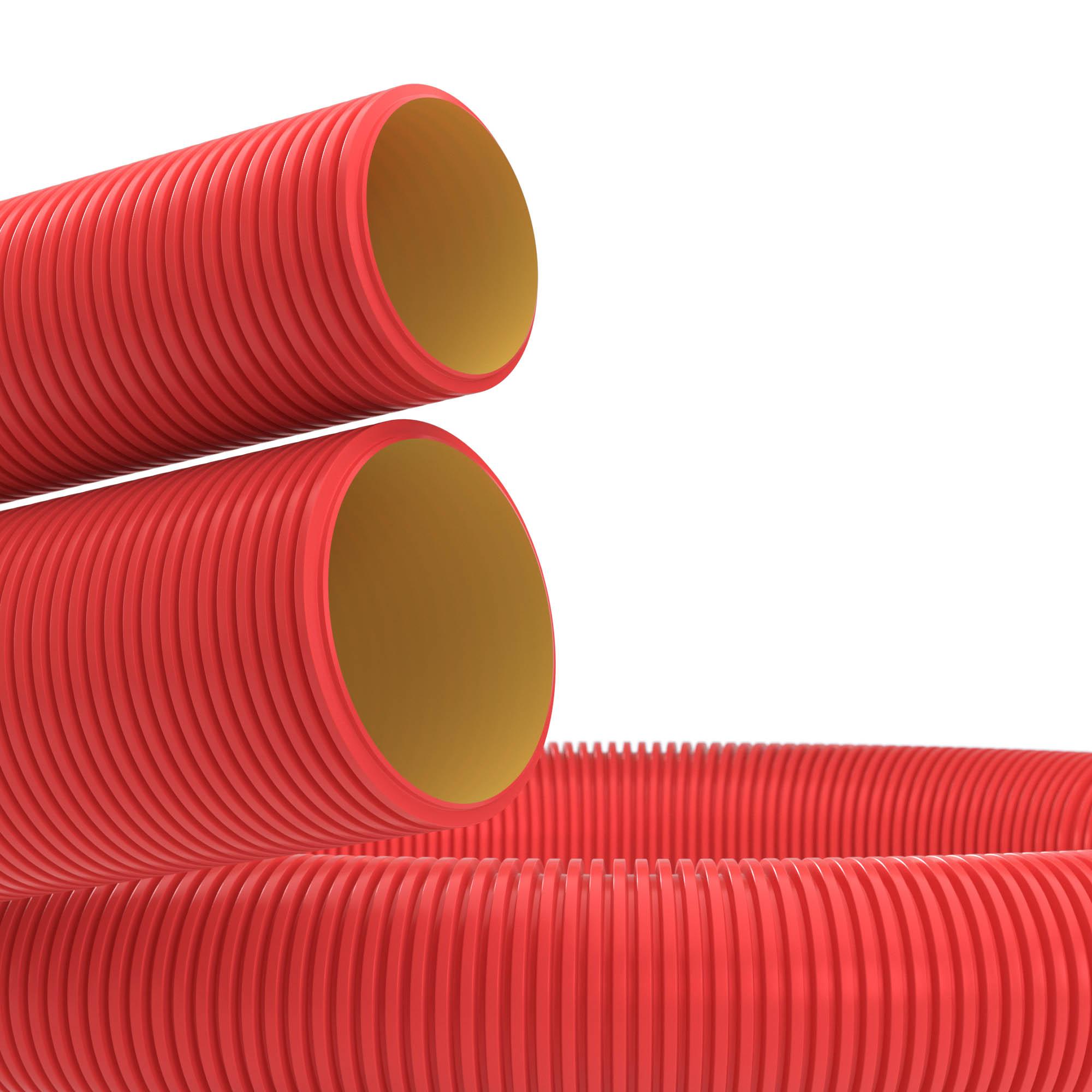 Двустенная труба ПНД гибкая для кабельной канализации d 140мм с протяжкой SN6 450Н красный