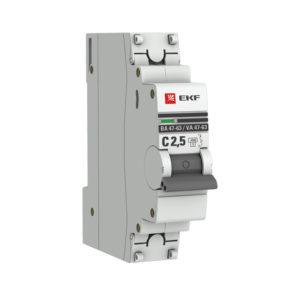 Автоматический выключатель 1P  2,5А (C) 4,5kA ВА 47-63 EKF PROxima