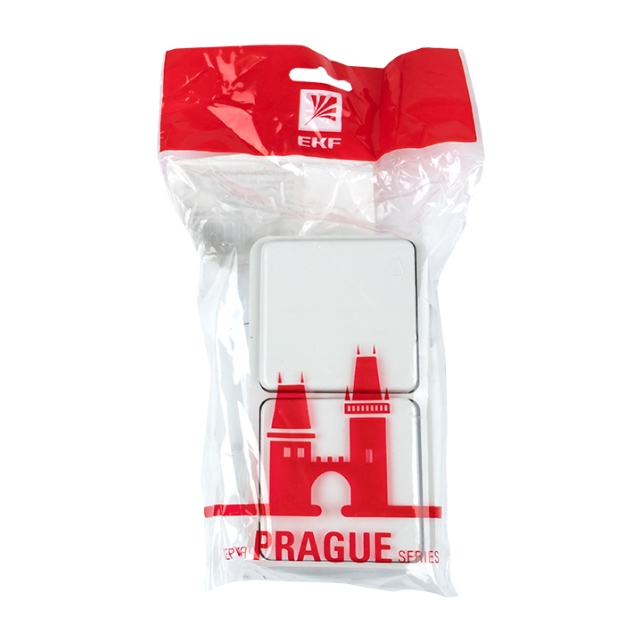 Блок розетка-выключатель 1-кл. 16А с/з с крышкой IP44 белая Прага EKF PROxima