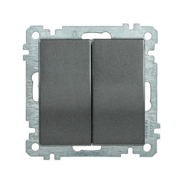 Выключатель 2-клавишный ВС10-2-0-Б 10А BOLERO антрацит IEK