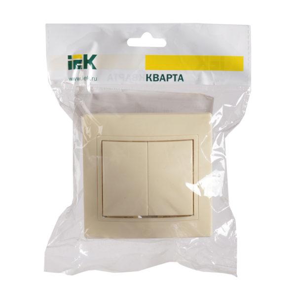 Выключатель 2-клавишный ВС10-2-0-Км 10А керамика КВАРТА кремовый IEK