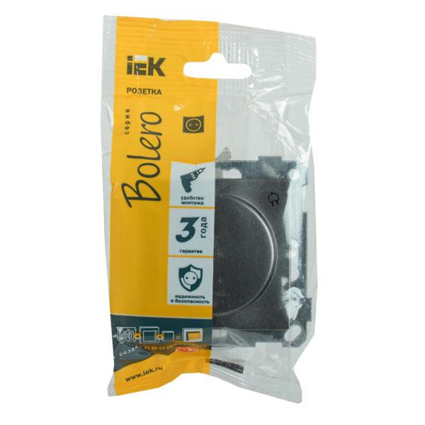 Розетка РС16-1-0-Б с заземляющим контактом с защитной шторкой и крышкой 16А BOLERO антрацит IEK