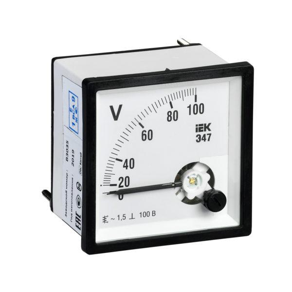 Вольтметр аналоговый Э47 100В класс точности 1,5 96х96мм IEK