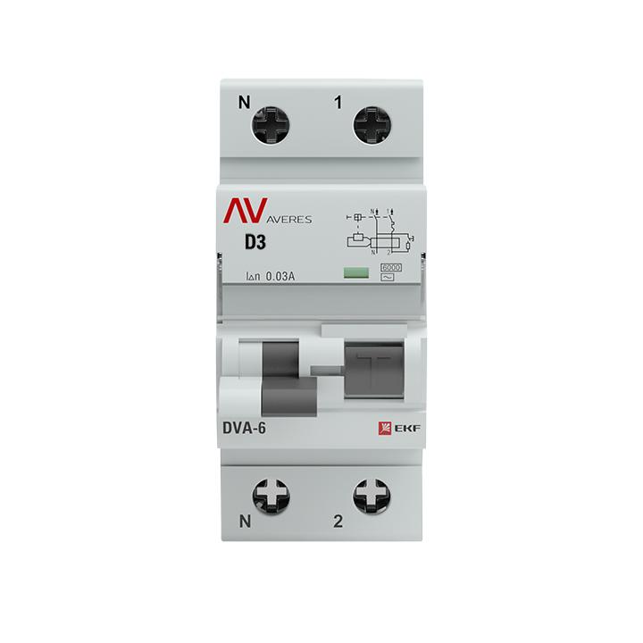 Дифференциальный автомат DVA-6 1P+N  3А (D)  30мА (AC) 6кА EKF AVERES