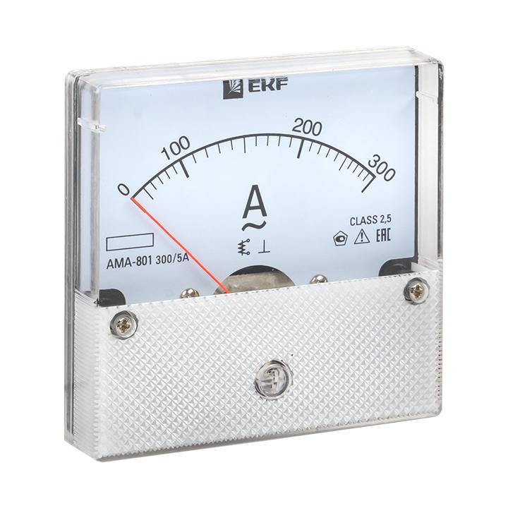 Амперметр AMA-801 аналоговый на панель (80х80) круглый вырез 300А трансф. подкл. EKF