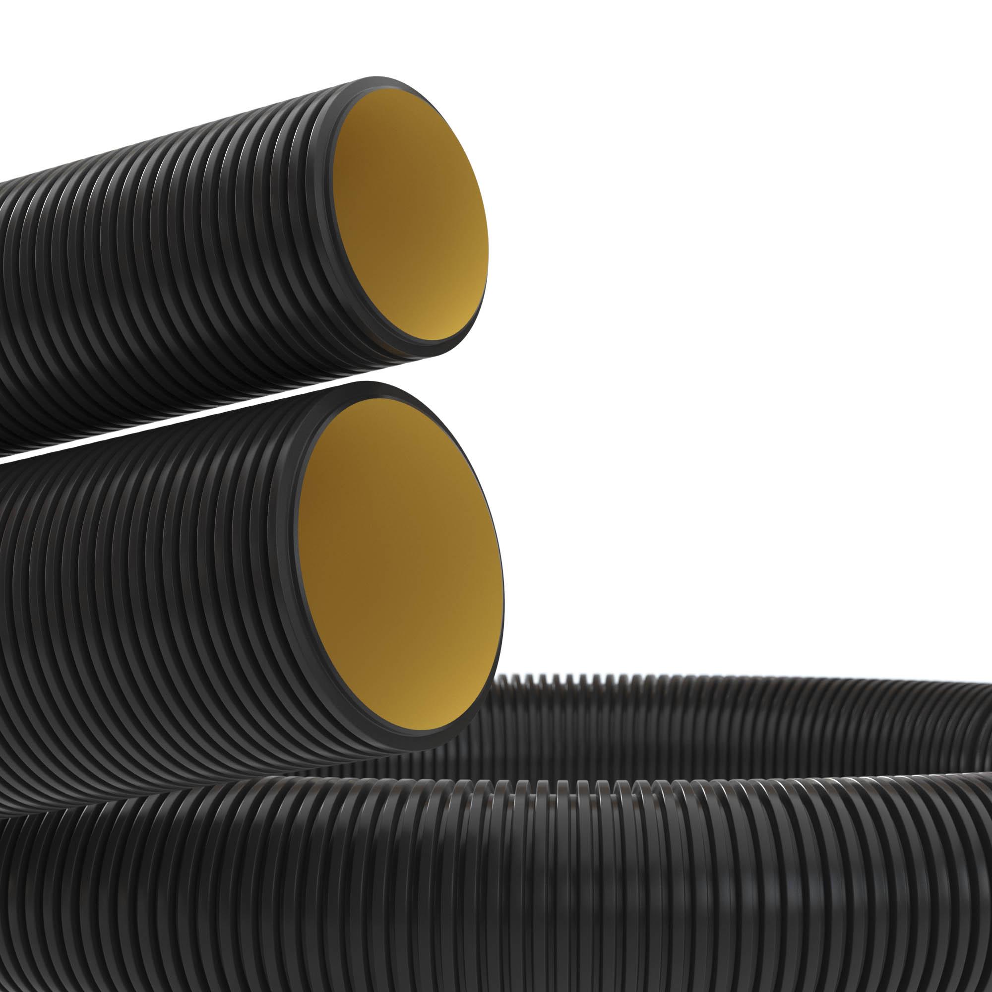 Двустенная труба ПНД гибкая для кабельной канализации d 160мм с протяжкой SN6 450Н черный