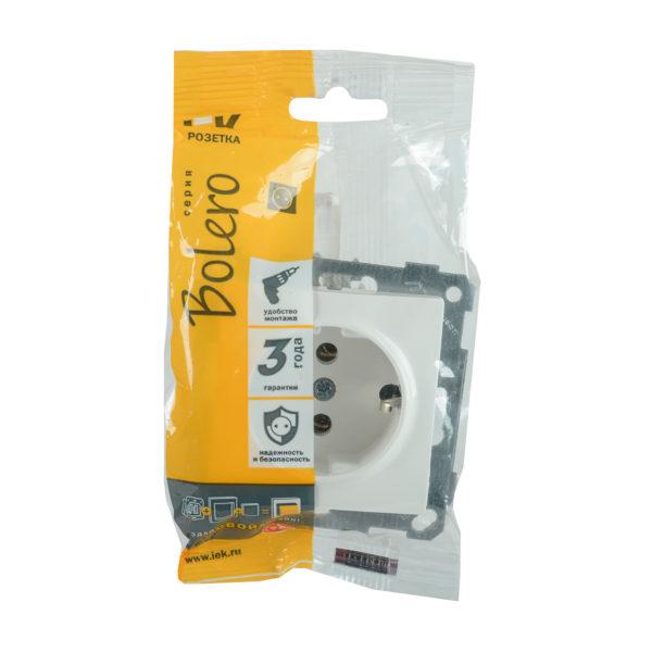 Розетка РС11-1-0-Б с заземляющим контактом 16А BOLERO белый IEK