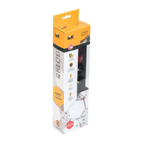 Сетевой фильтр СФ-05К-выкл. 5 мест 2Р+PЕ/3метра 3х1мм2 16А черный IEK