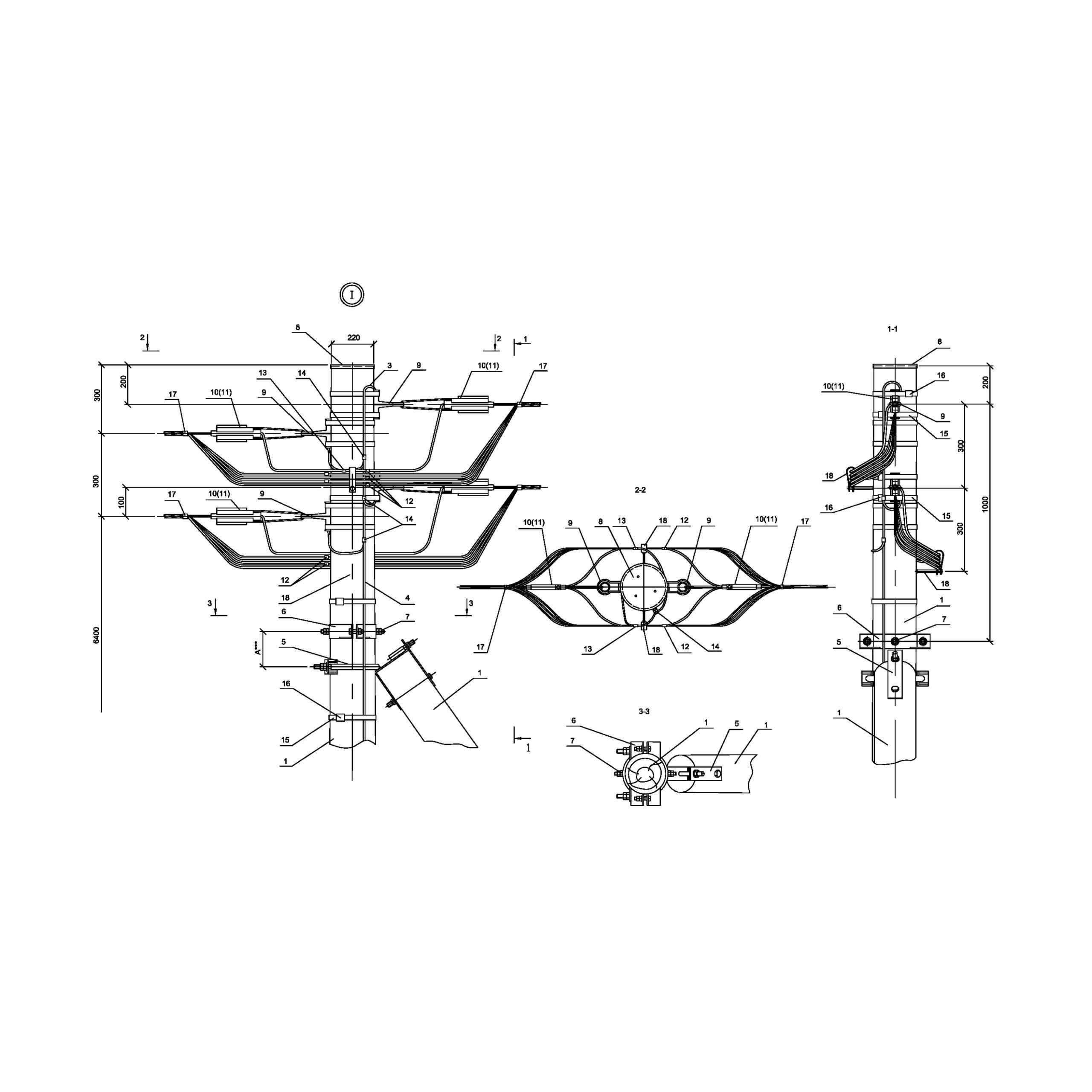 Опора Ад161 деревянная анкерная концевая двухцепная IEK