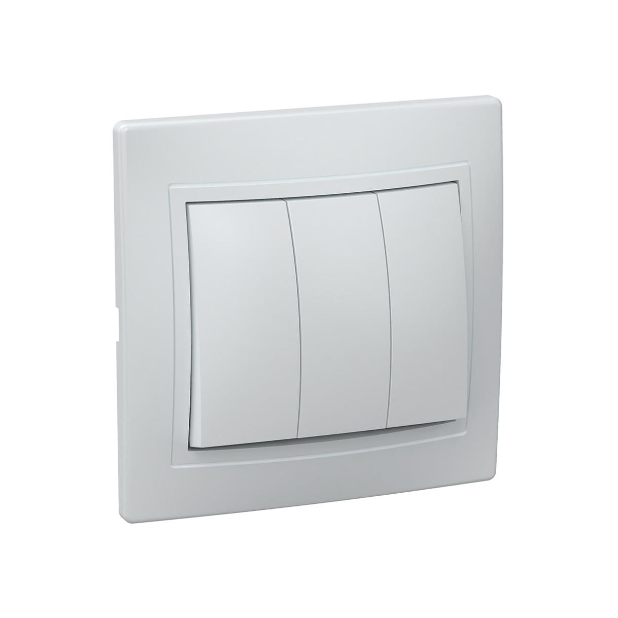Выключатель 3-клавишный ВС10-3-0-КБ 10А КВАРТА белый IEK