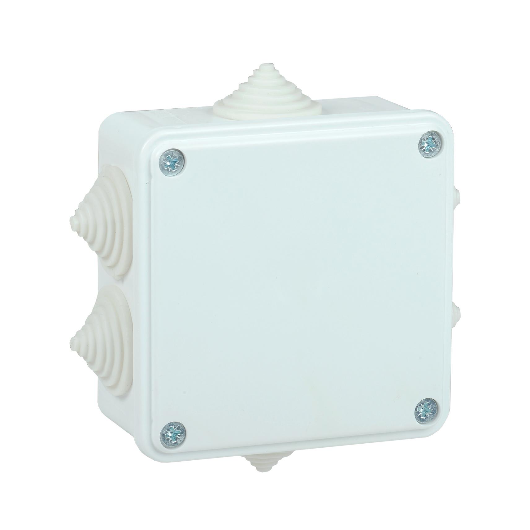 Коробка распаячная КМ для открытой проводки 100х100х45мм IP44 6 вводов белая IEK