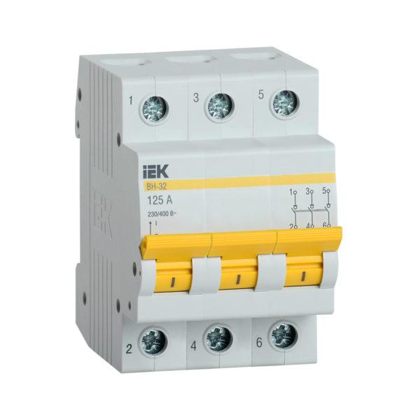 Выключатель нагрузки (мини-рубильник) ВН-32 3Р 125А IEK