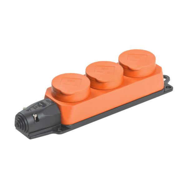 Розетка (колодка) 3-местная РБ33-1-0м с защитными крышками IP44 ОМЕГА оранжевая IEK