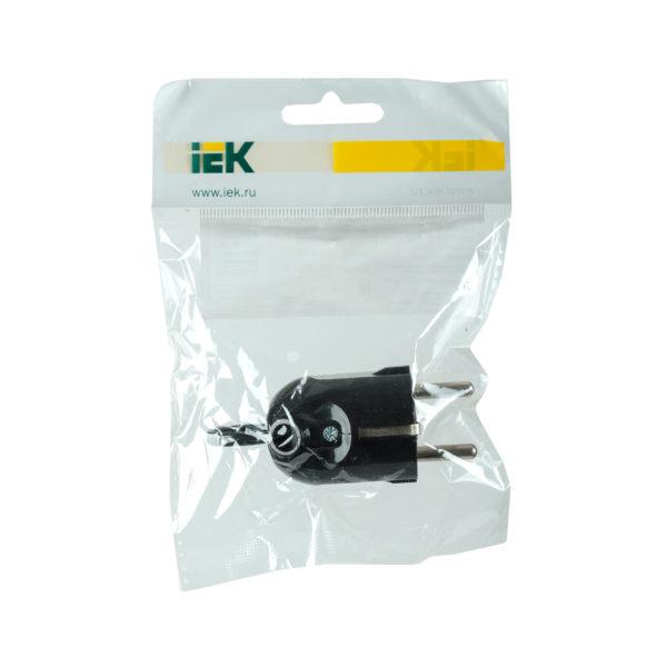 Вилка разборная угловая ВПу12-02-Ст с заземляющим контактом с кольцом 16А черная IEK