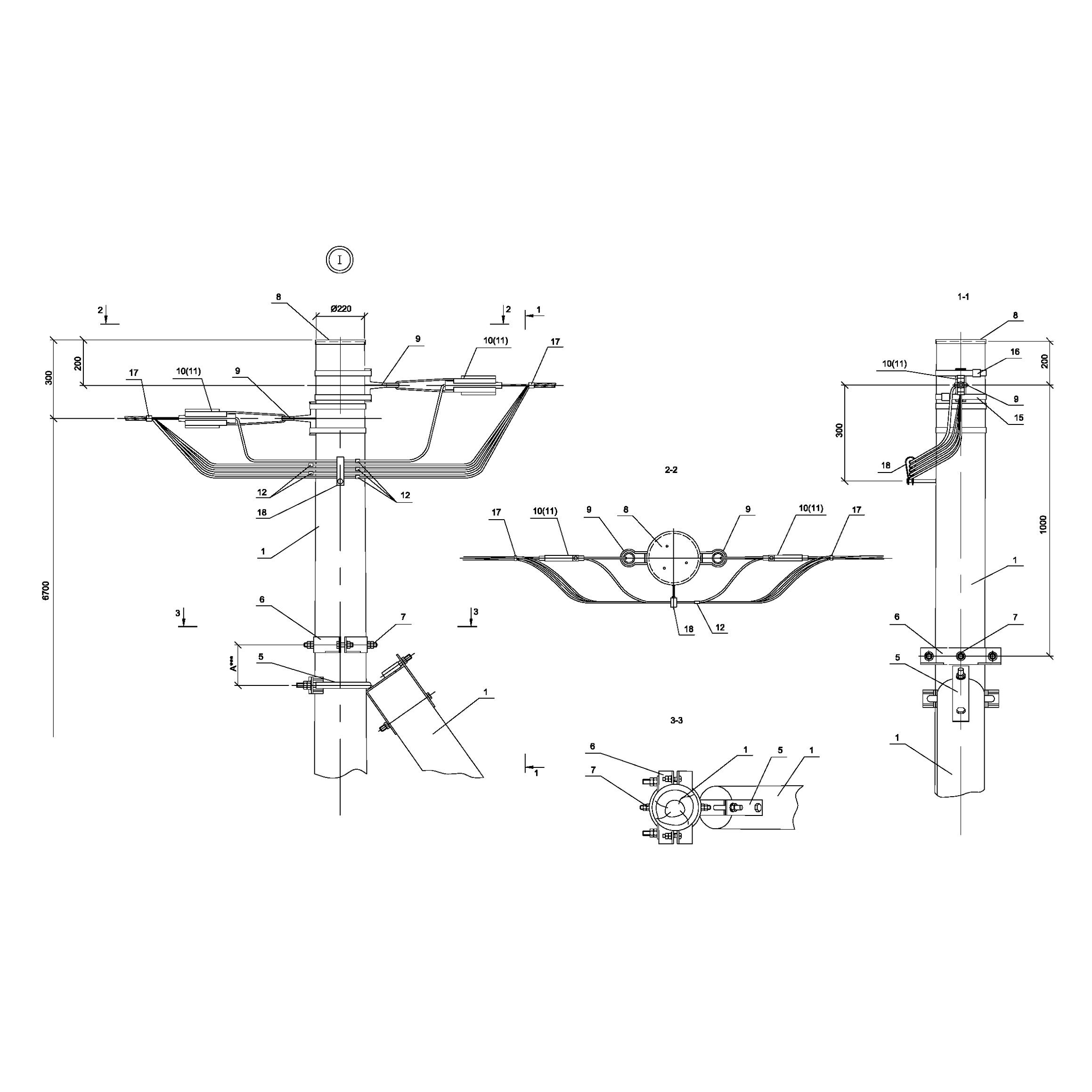Опора Ад15 деревянная анкерная концевая одноцепная IEK