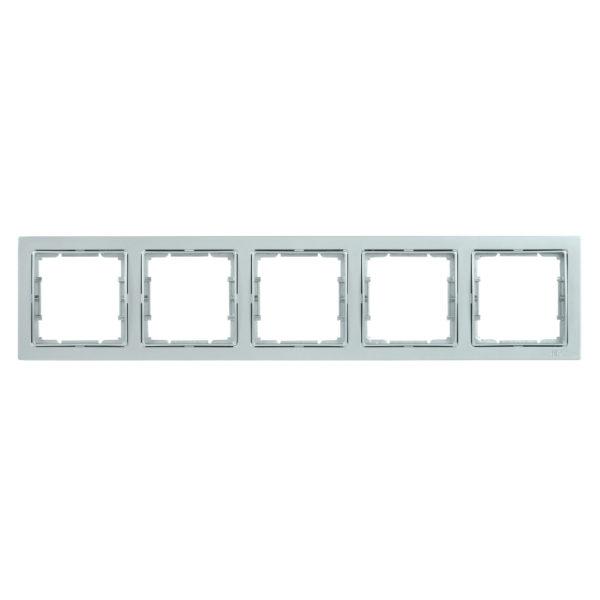Рамка 5-местная квадратная РУ-5-БС BOLERO Q1 серебряный IEK