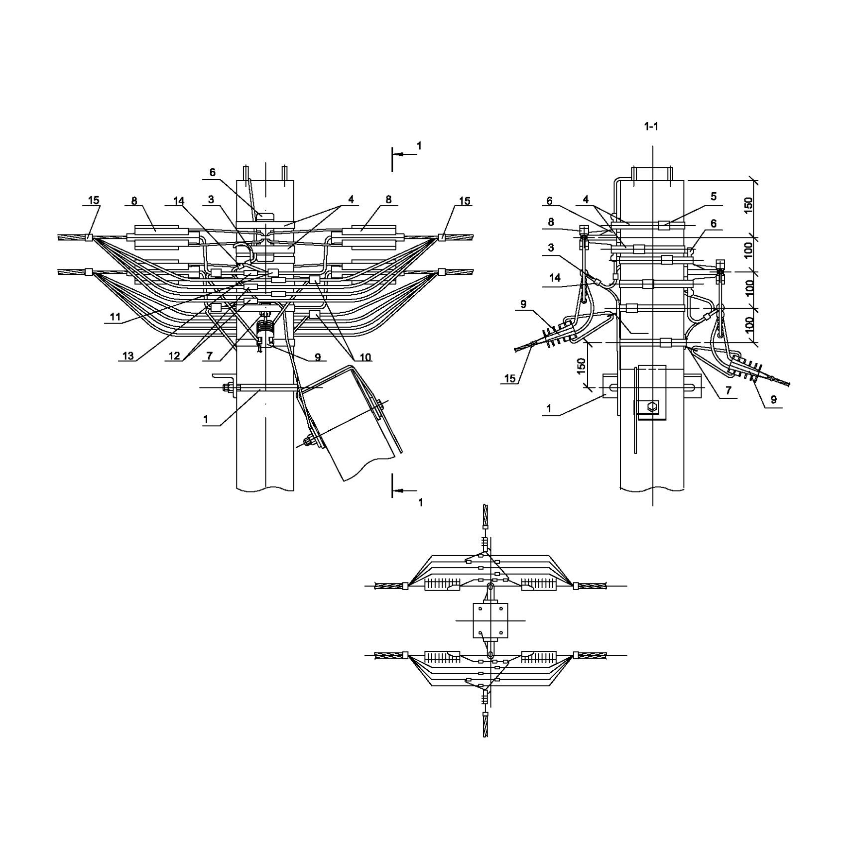 Опора А34 ж/б анкерная концевая двухцепная с ответвлением в две стороны СИП4-2 IEK