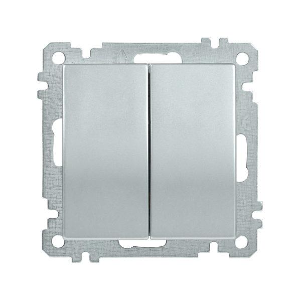 Выключатель 2-клавишный ВС10-2-0-Б 10А BOLERO серебряный IEK