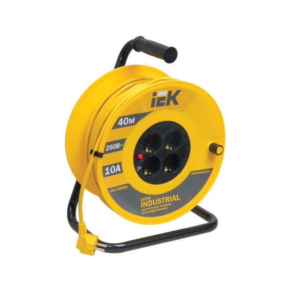 Катушка УК40 с термозащитой 4 места 2P+PE/40м 3х1,0мм2 INDUSTRIAL IEK