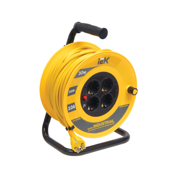 Катушка УК30 с термозащитой 4 места 2P+PE/30м 3х1,0мм2 INDUSTRIAL IEK