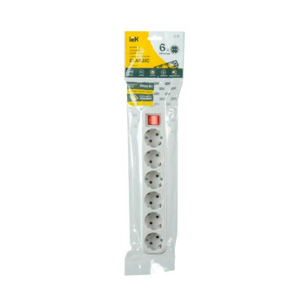 Розетка разборная переносная с выключателем К06В 6 мест CLASSIC IEK