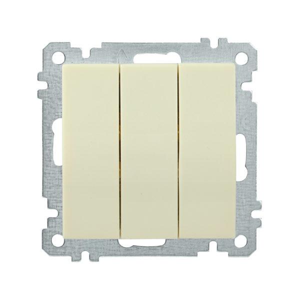 Выключатель 3-клавишный ВС10-3-0-Б 10А BOLERO кремовый IEK