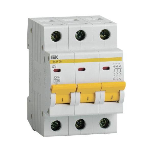 Выключатель автоматический ВА47-29 3Р 3А 4,5кА D IEK