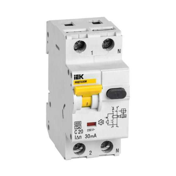 Автоматический выключатель дифференциального тока АВДТ32EM C20 30мА IEK