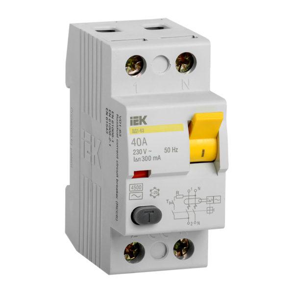 Выключатель дифференциальный (УЗО) ВД1-63 2Р 40А 300мА IEK