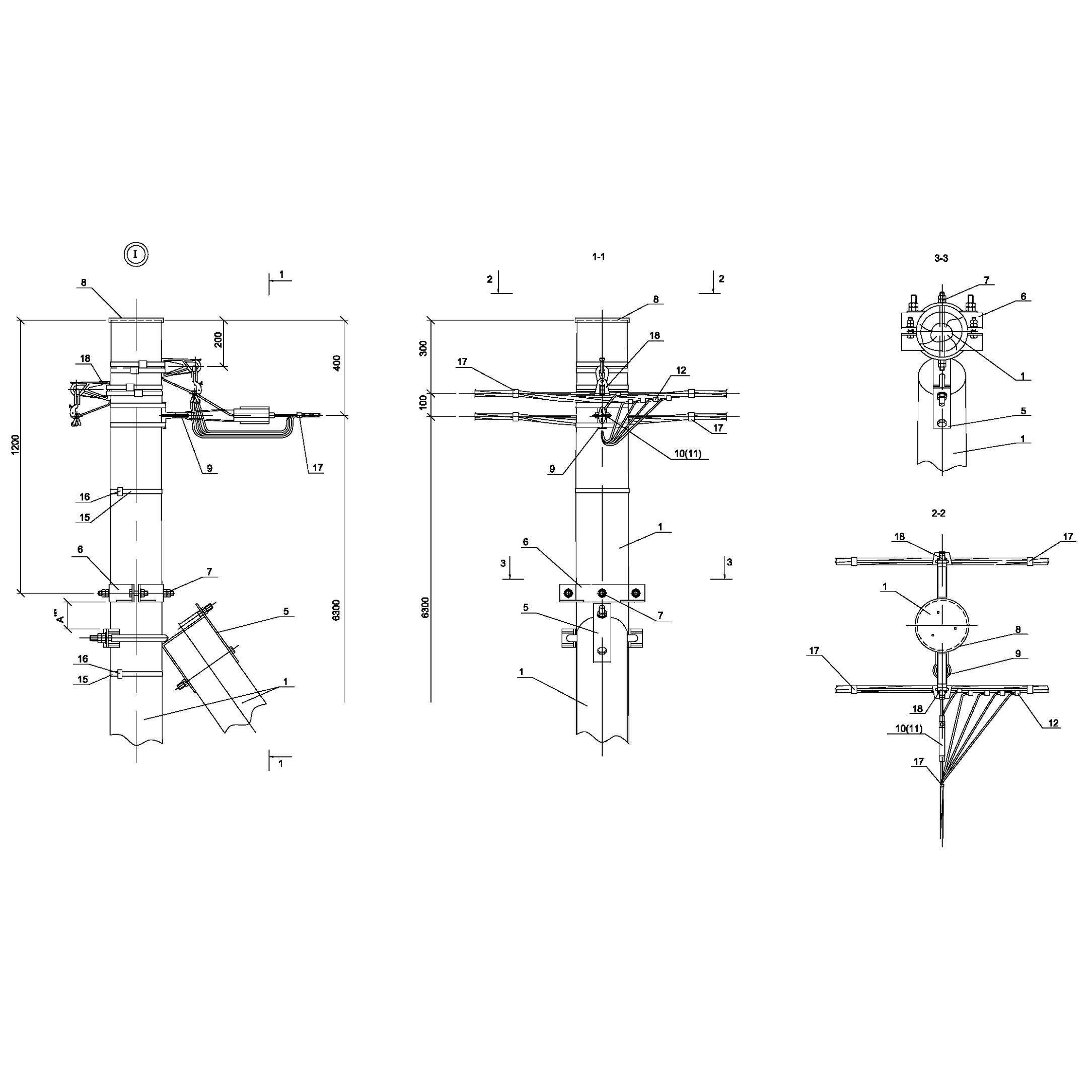 Опора ОАд16 деревянная анкерная ответвительная двухцепная IEK