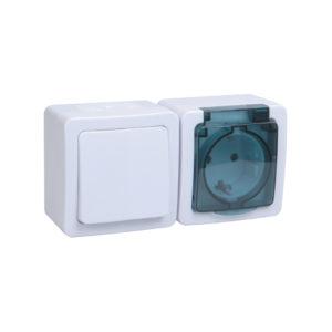 Блок горизонтальный для открытой установки БГб-22-31-ГПБд (Выключатель 1-клавишный + розетка 1-местная с заземляющим контактом) IP54 ГЕРМЕС PLUS (белый/дымчатый) IEK