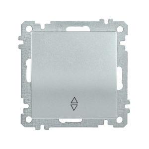 Выключатель 1-клавишный проходной ВС10-1-2-Б 10А BOLERO серебряный IEK