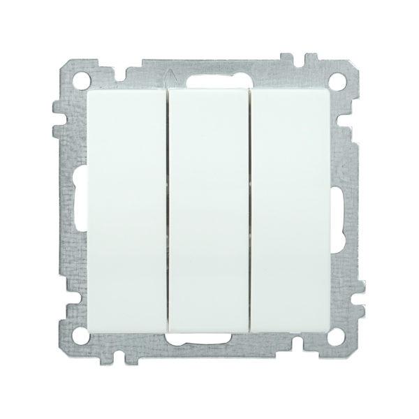 Выключатель 3-клавишный ВС10-3-0-Б 10А BOLERO белый IEK