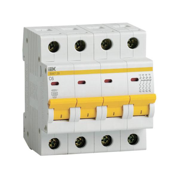 Выключатель автоматический ВА47-29 4Р 6А 4,5кА С IEK