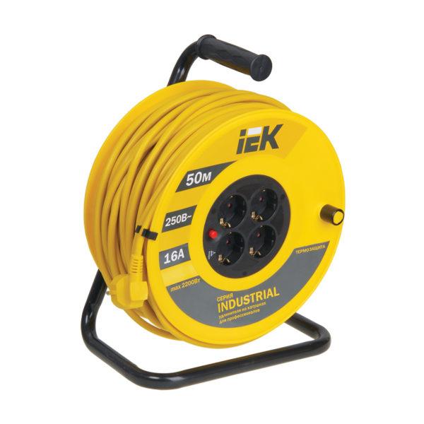 Катушка УК50 с термозащитой 4 места 2P+PE/50м 3х1,5мм2 INDUSTRIAL IEK