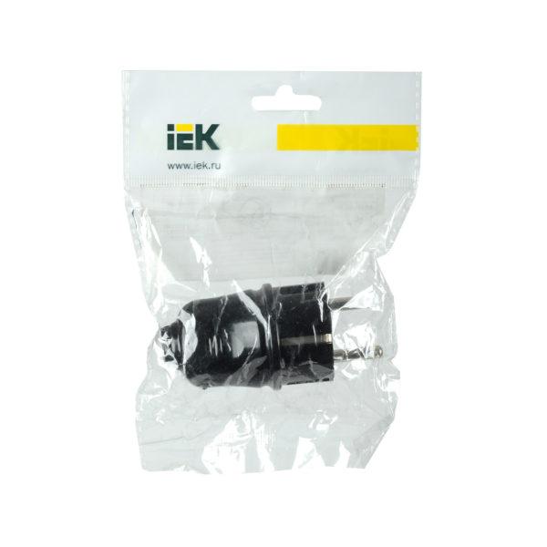 Вилка разборная прямая ВПп10-02-Ст с заземляющим контактом 16А черная IEK