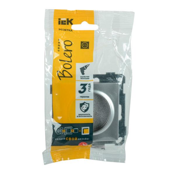 Розетка без заземляющего контакта РС10-1-0-Б 10А BOLERO серебряный IEK