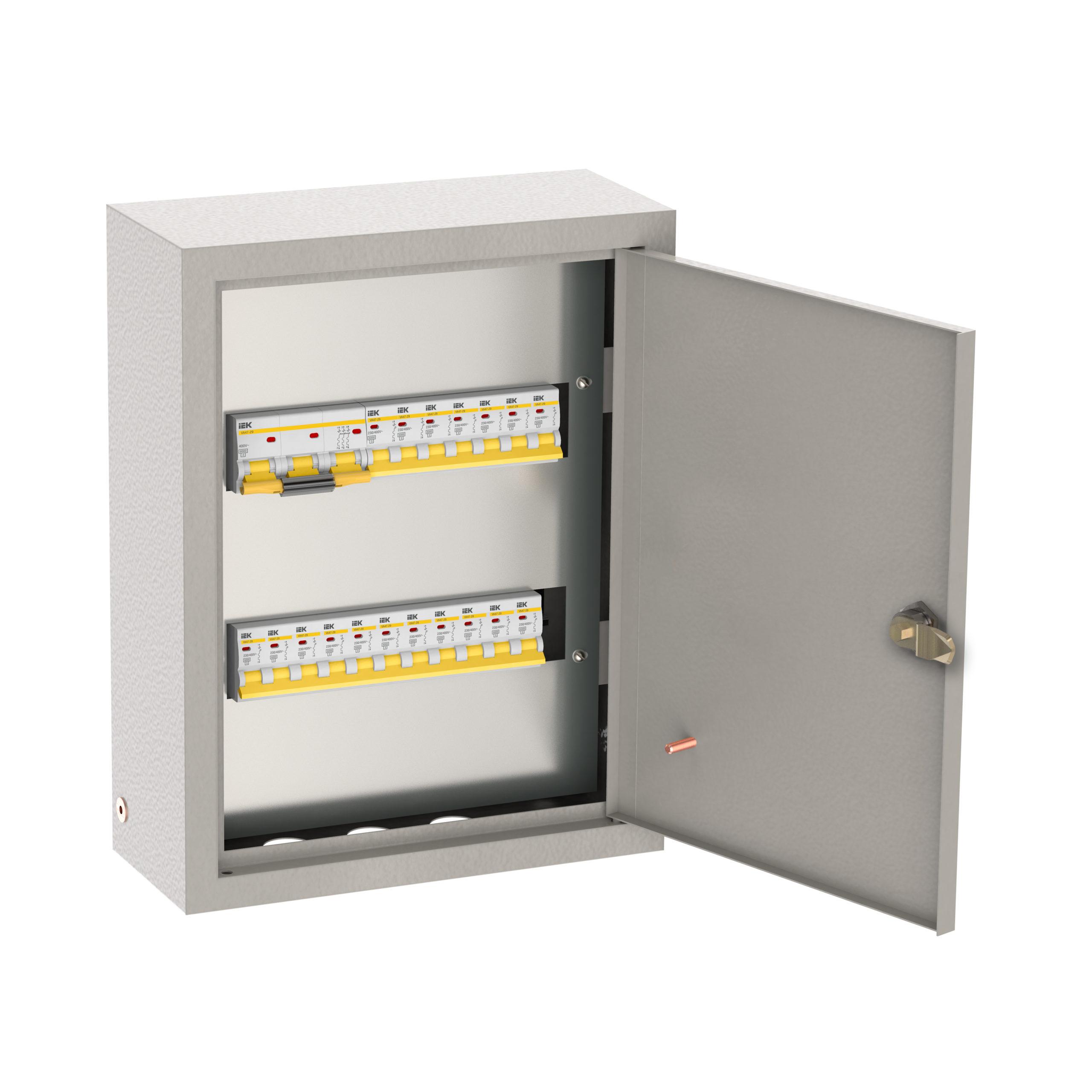 Щиток осветительный ОЩВ навесной с автоматическими выключателями 3p 1х63А 1p 12х25А IEK