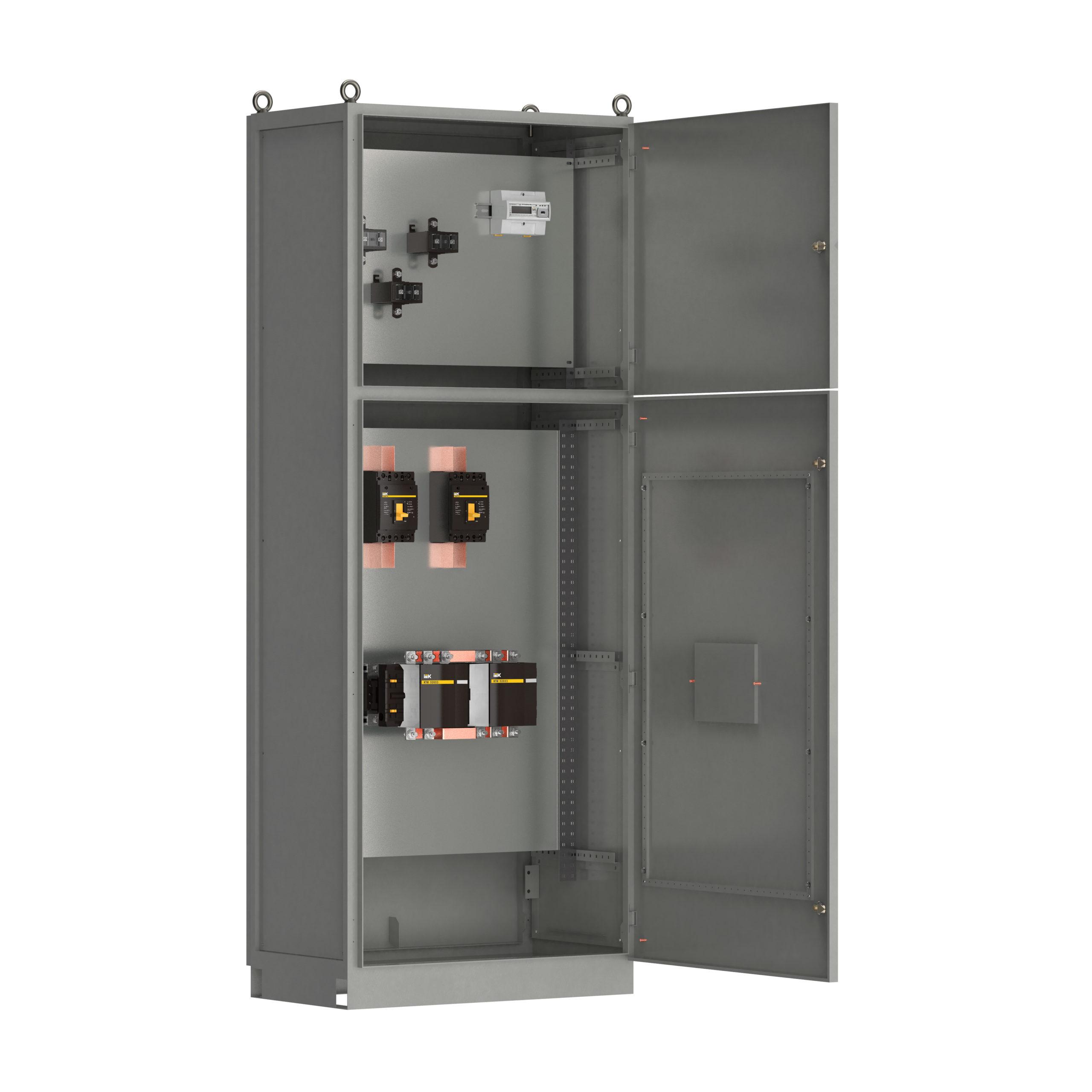 Панель вводная ВРУ-8503 МУ 2ВА-8-25-0-30 выключатели автоматические 3Р 2х250А контактор реверсивный 265А и учет IEK