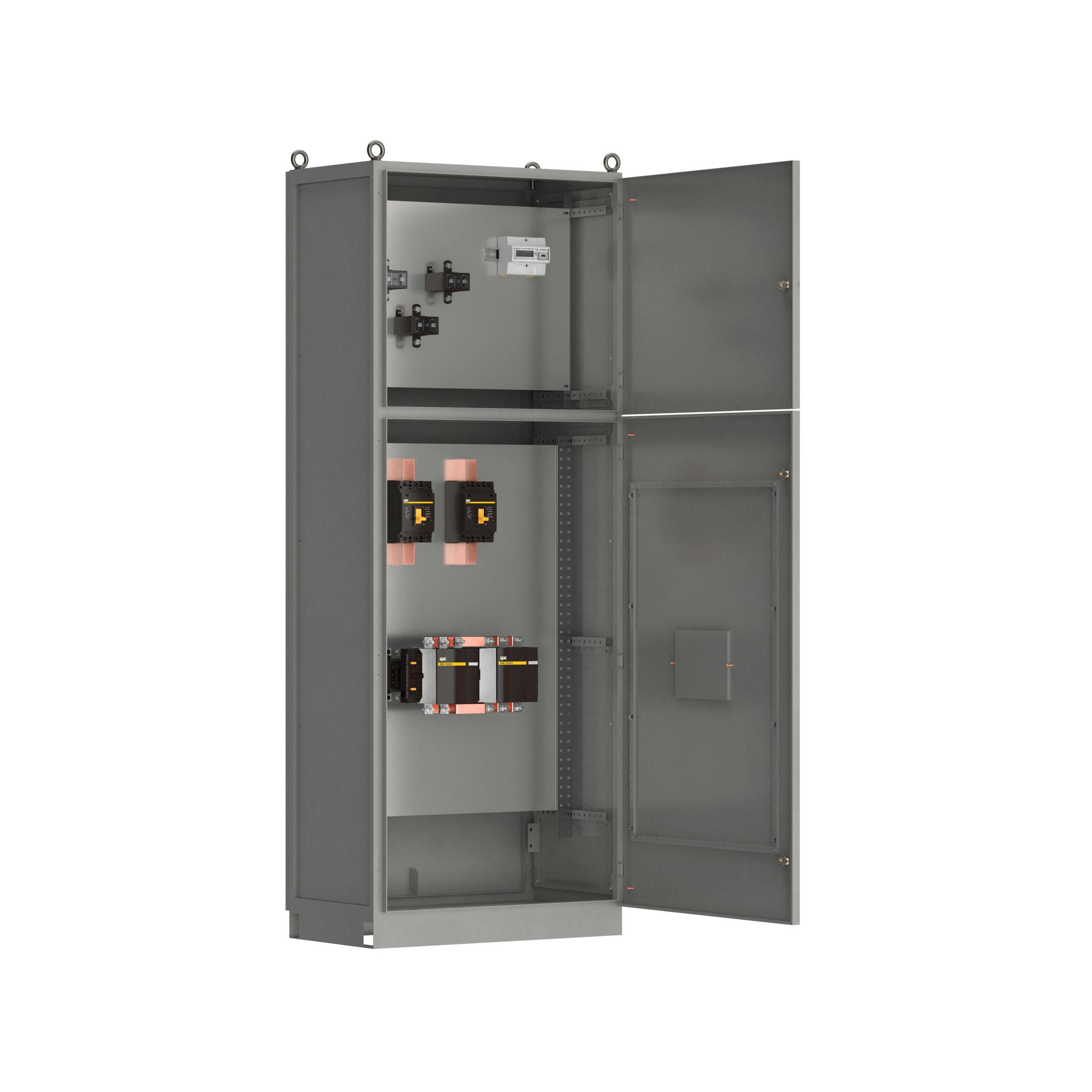 Панель вводная ВРУ-8504 МУ 3ВА-8-25-0-30 выключатели автоматические 3Р 2х250А контактор реверсивный 1х265А и учет IEK