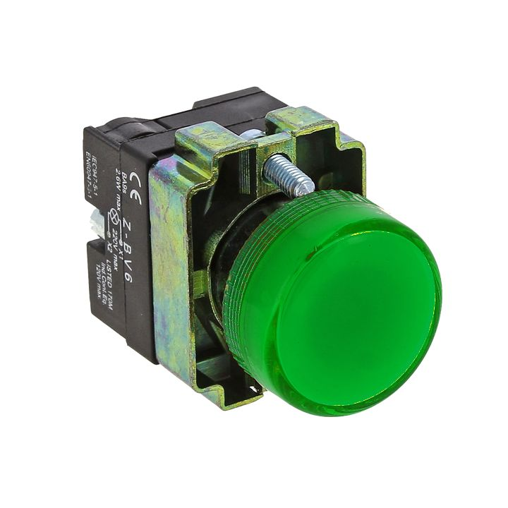 Лампа сигнальная BV63 зеленая EKF PROxima