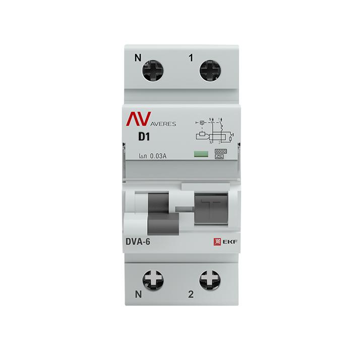 Дифференциальный автомат DVA-6 1P+N  1А (D)  30мА (A) 6кА EKF AVERES