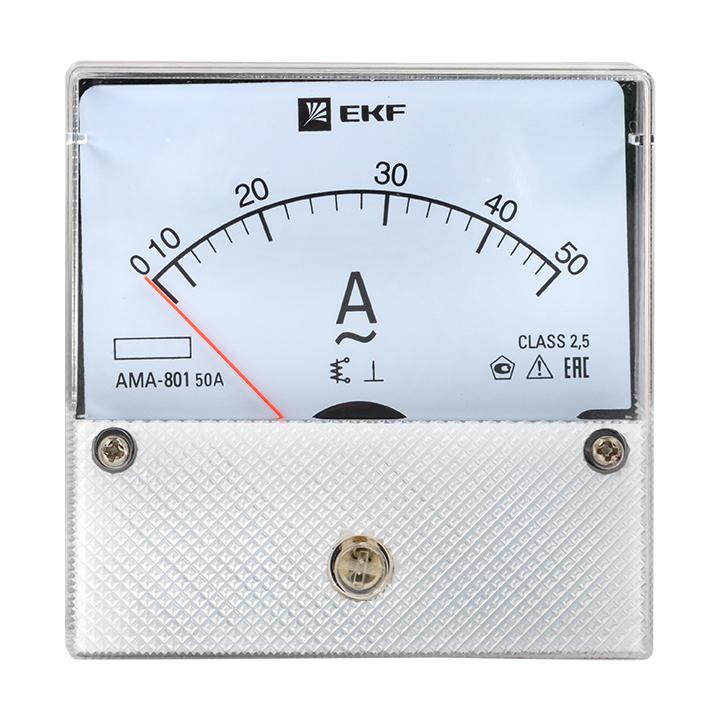 Амперметр AMA-801 аналоговый на панель (80х80) круглый вырез 50А прямое подкл. EKF